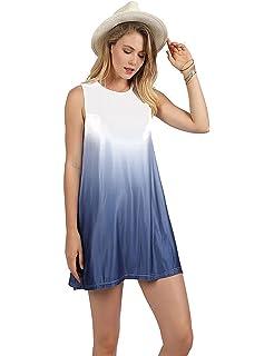 95a1b0d2d76ab Ypser Frauen Ärmellos Tunika Top Sommer Blumendruck T-Shirt Mini A-Linie  Kleid