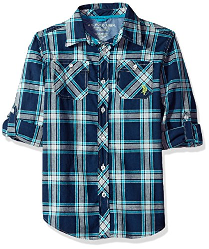 U.S. Polo Assn. Boys' Big' Long Sleeve Plaid Shirt, Marina Blue, 14/16