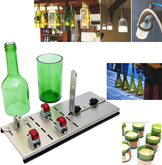 Máquina de corte de botellas de vidrio, botella de vino de vidrio largo cortador de la máquina que anota cortadora de botella de vino para DIY vidrieras, vasos, macetas de botellas, lámparas