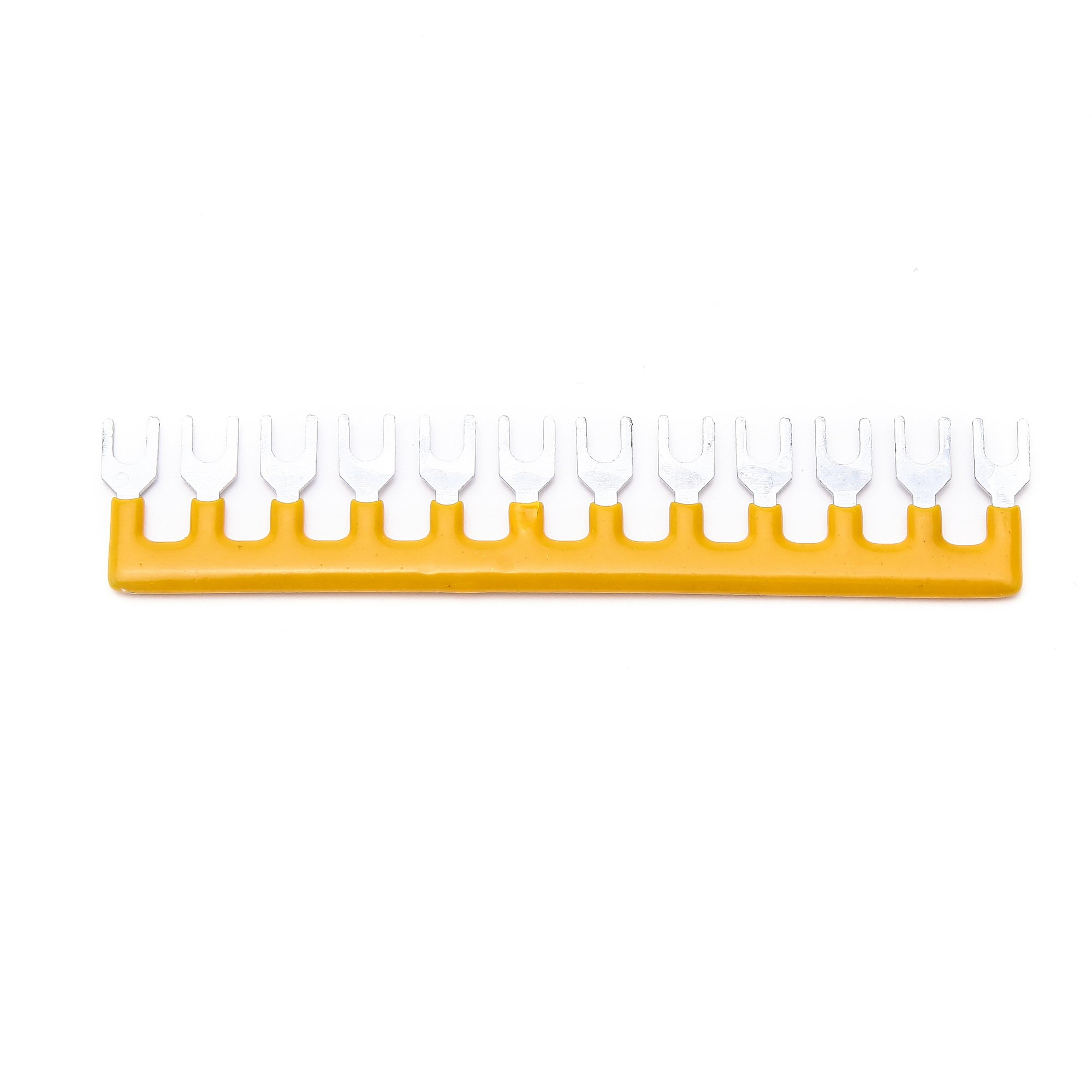 Suyep 12 Positions 25A Wire Connector Pre Insulated Fork Type Barrier Spades Terminal Strip Jumper Block TB2512 (10, Yellow)