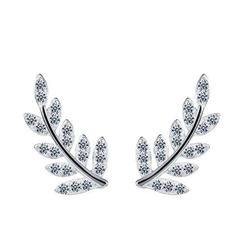 346eef956c65 Amazon.com  LOCHING Creative Leaf Stud Earrings Inlaid With Zircon Skinny  925 Sterling Silver Stud Earring Rose Gold and Silver (Silver)  Jewelry