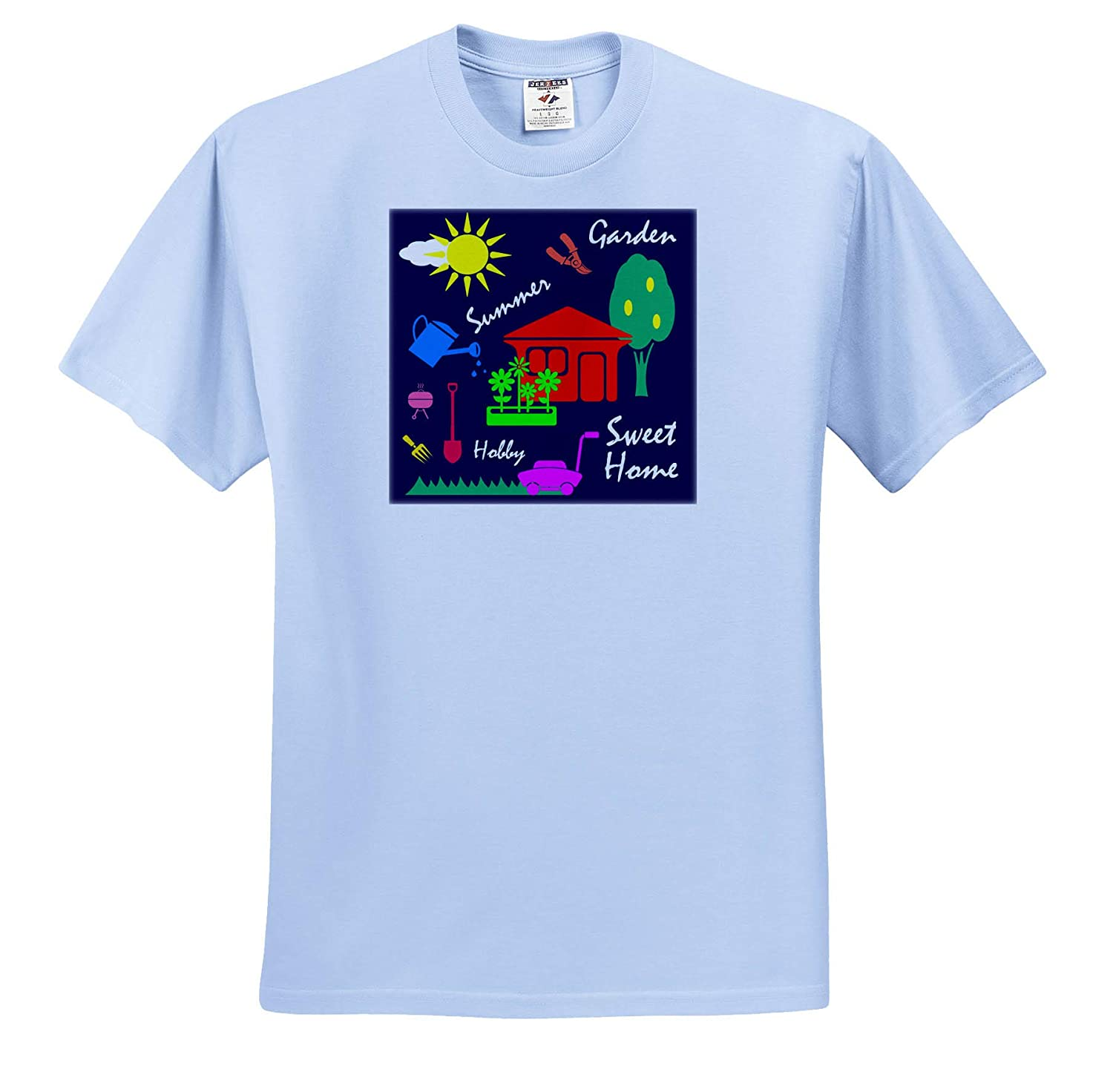 Garden 3dRose Alexis Design Adult T-Shirt XL ts/_313218 Simple Summer Gardening Decor of Colorful Shapes on Navy Blue