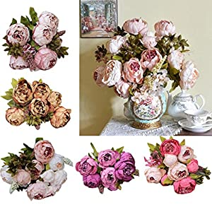 Silk Peony, BCDshop Vintage Europe Style Artificial Fake Flower 8 Heads Bouquets For Weddings, Cemetery, Crafts,House Party Decoration 2
