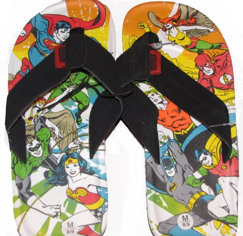 Justice League of America Action Print Superhero Flip Flop Sandals | XL from Animewild