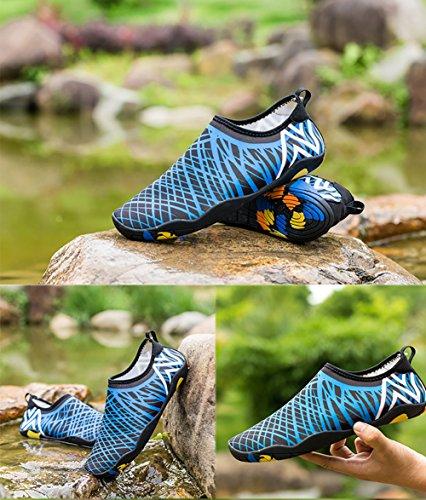Everydlife Barfuß Quick Dry Wasser Schuhe für Männer, Aqua Socken Schwimmen Schuhe mit Drainage Löcher für Frauen Yoga Beach Blau