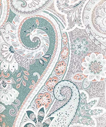 ENVOGUE Home Fabric Designer Shower Curtain Rich Floral Paisley Pattern in Shades of Blue, Salmon Pin, Teal, Taupe, Beige and White
