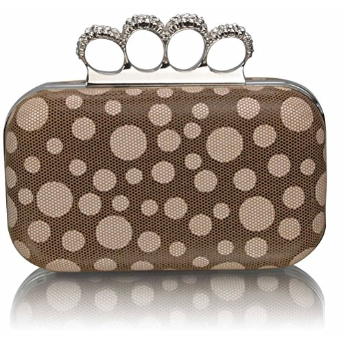 LeahWard? Women's Diamante Beads Clutch Handbag Purse Luxury Clutches For Wedding Ceremony Night Out BROWN DOT CLUTCH