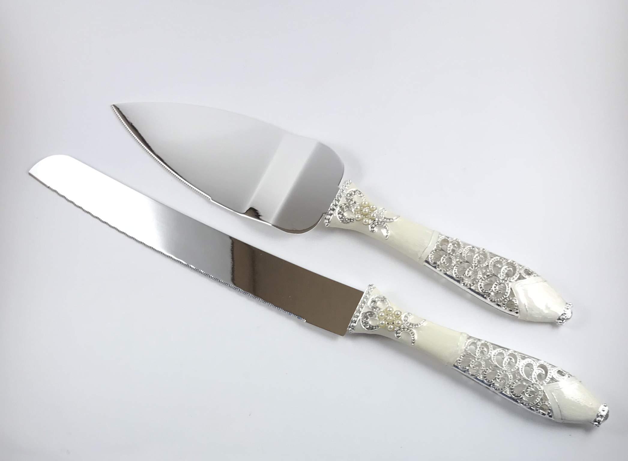 Wedding Cake Knife and Server Set – Knives for Wedding Cakes – Wedding Cutting Cake Set – Practical Knives for Cutting Wedding Cakes – Serving Utensils – Cake Servers