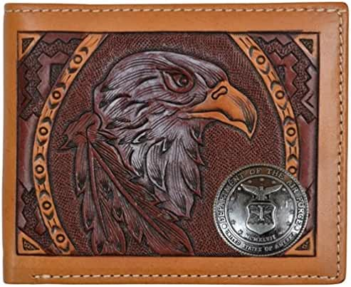 Custom American Spirit United States Air Force hand-tooled Bi-Fold leather wallet