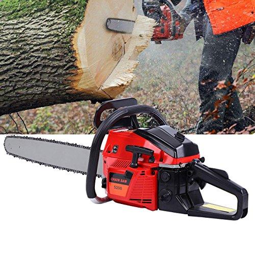 Ridgeyard 52cc 22-Inch Bar Gas Gasoline Powered Chainsaw 52cc 2 Stroke Tree Chain Saw Wood Cutting with Aluminum ()