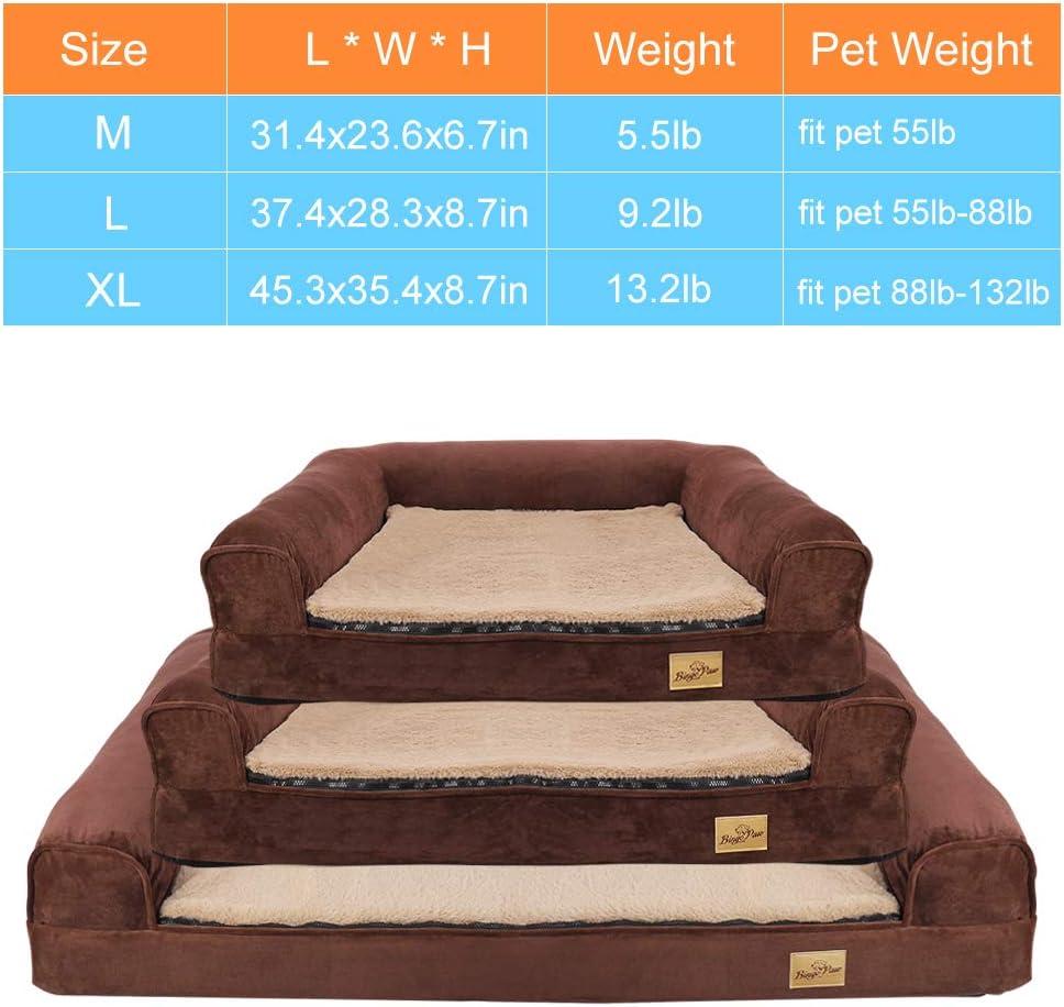 Bingopaw Cama Ortopédica de Espuma para Perros, Sofá Cama para Mascotas Desmontable Impermeable y Lavable, Colchoneta Perro Suave y Cómoda, Color Marrón, 80 x 60 x 17cm: Amazon.es: Productos para mascotas
