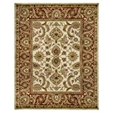 Safavieh Classic Collection CL244D Handmade Traditional Oriental Ivory and Red Wool Area Rug (5' x 8')