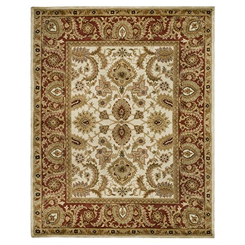 Safavieh Classic Collection CL244D Handmade Traditional Oriental Ivory and Red Wool Area Rug (5' x 8') by Safavieh