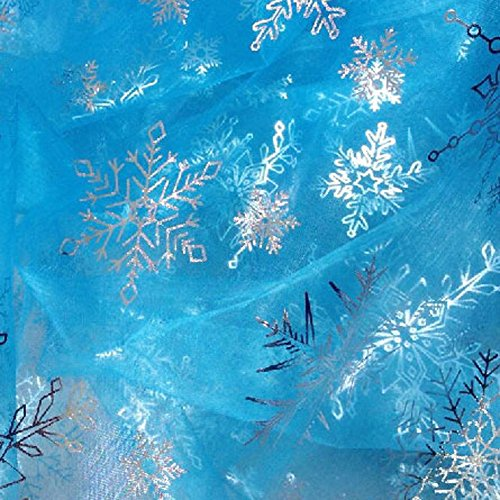 Urchart Sky Blue Fabric with Silver Threaded Sheer Organza Silve Snowflakes Yarn Shimmering Ice Pattern 1 Yard for Elsa Cosplay Costumes (Snowflakes Blue)]()
