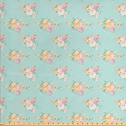 - Lunarable Roses Fabric by The Yard, Floral Shabby Chic Pattern with Wildflower Bouquets Soulful Spring Garden Themed, Decorative Fabric for Upholstery and Home Accents, Multicolor