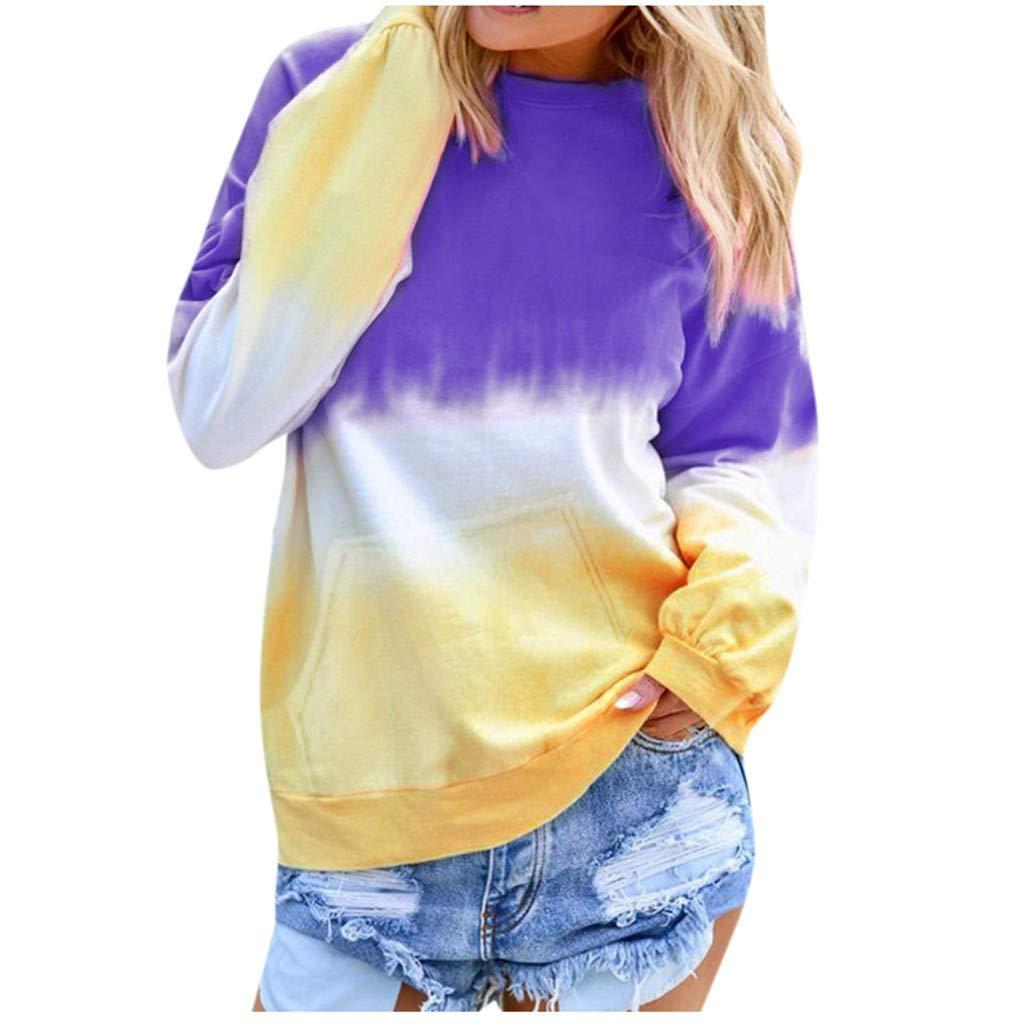 Shusuen Women's Casual T-Shirt Long Sleeve Cowl Neck Tunic Sweatshirt Dyed Tied Tops Blouse by Shusuen_Clothes