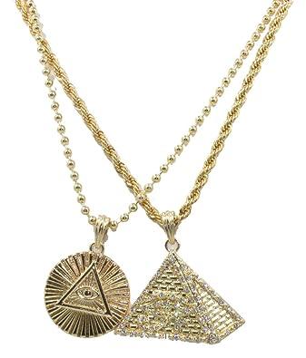 Pyramid Illuminati All Seeing Eye 14k Gold Overlay Piece Mini