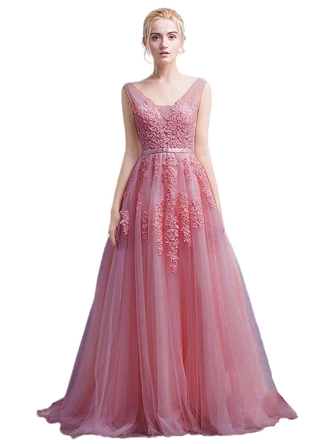5b2ae4dc440 Amazon.com  Babyonline Women s Double V-Neck Tulle Appliques Long Evening  Cocktail Gowns  Clothing