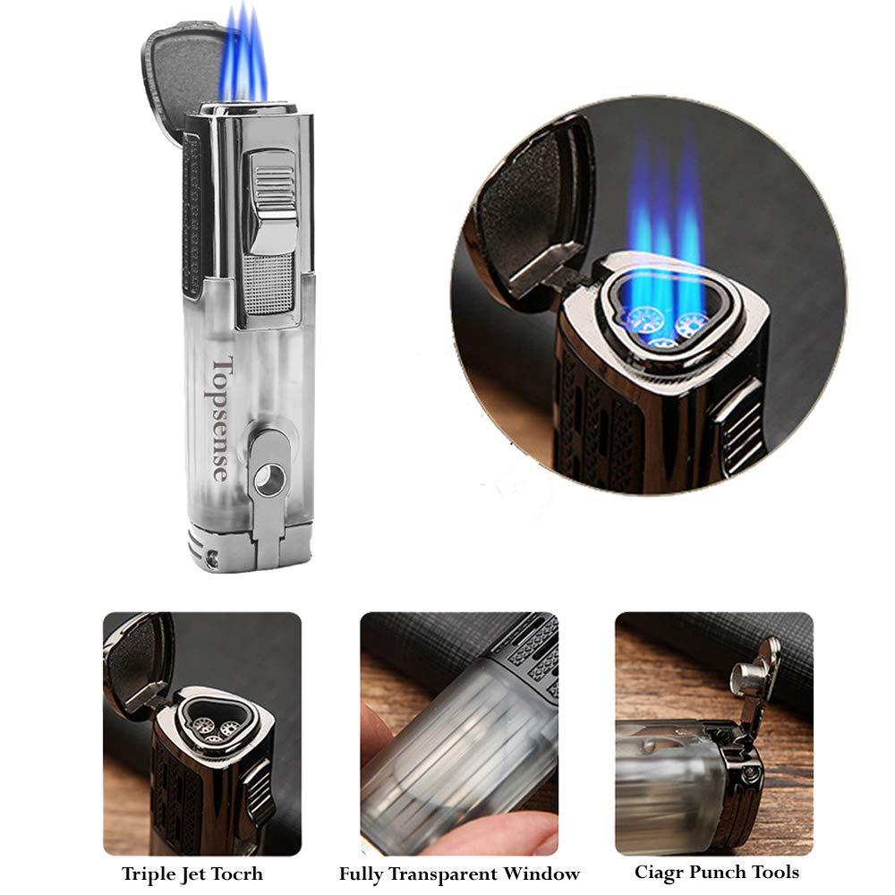 Encendedor de la antorcha de cigarro, encendedor de chorro, antorcha de butano a gas de llama turbo a prueba de viento, encendedor de antorcha con ...