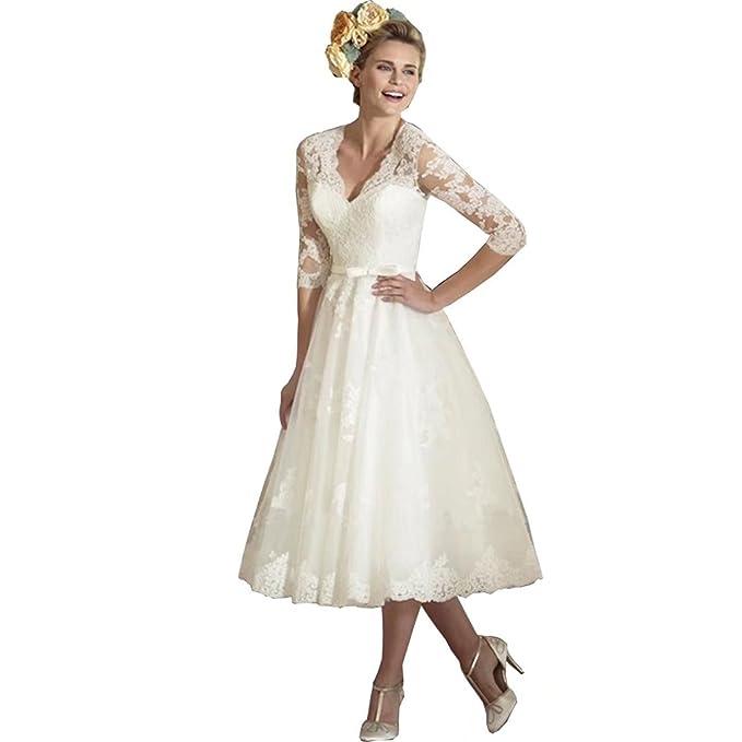 Retro Wedding Dresses.Qijunge Vintage Wedding Gowns V Neck Lace Sleeves Retro