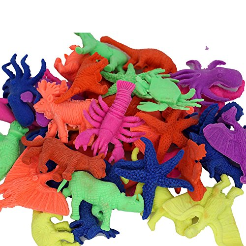 Water Growing Toys Water Swell Up Expansion Toys- Easter Eggs Dinosaur Dragon Hatch-Grow Eggs, Sea Creatures, Animals, Cactus, Plants (24, Sea Creatues - Cardboard Package)