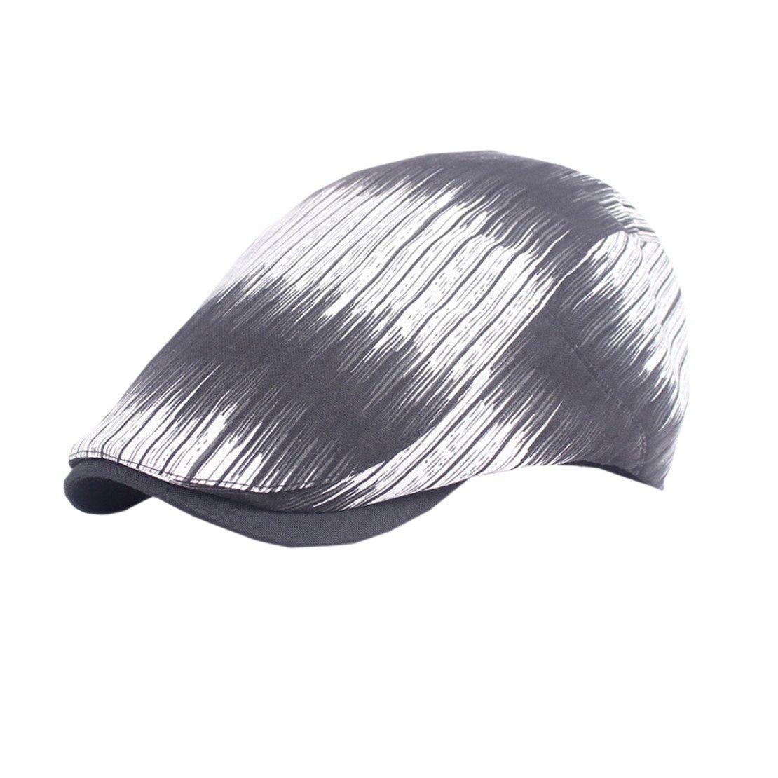 Mens Sun Outdoor Newsboy Flat Hat Short Brim Stripe Headwear TM XueXian