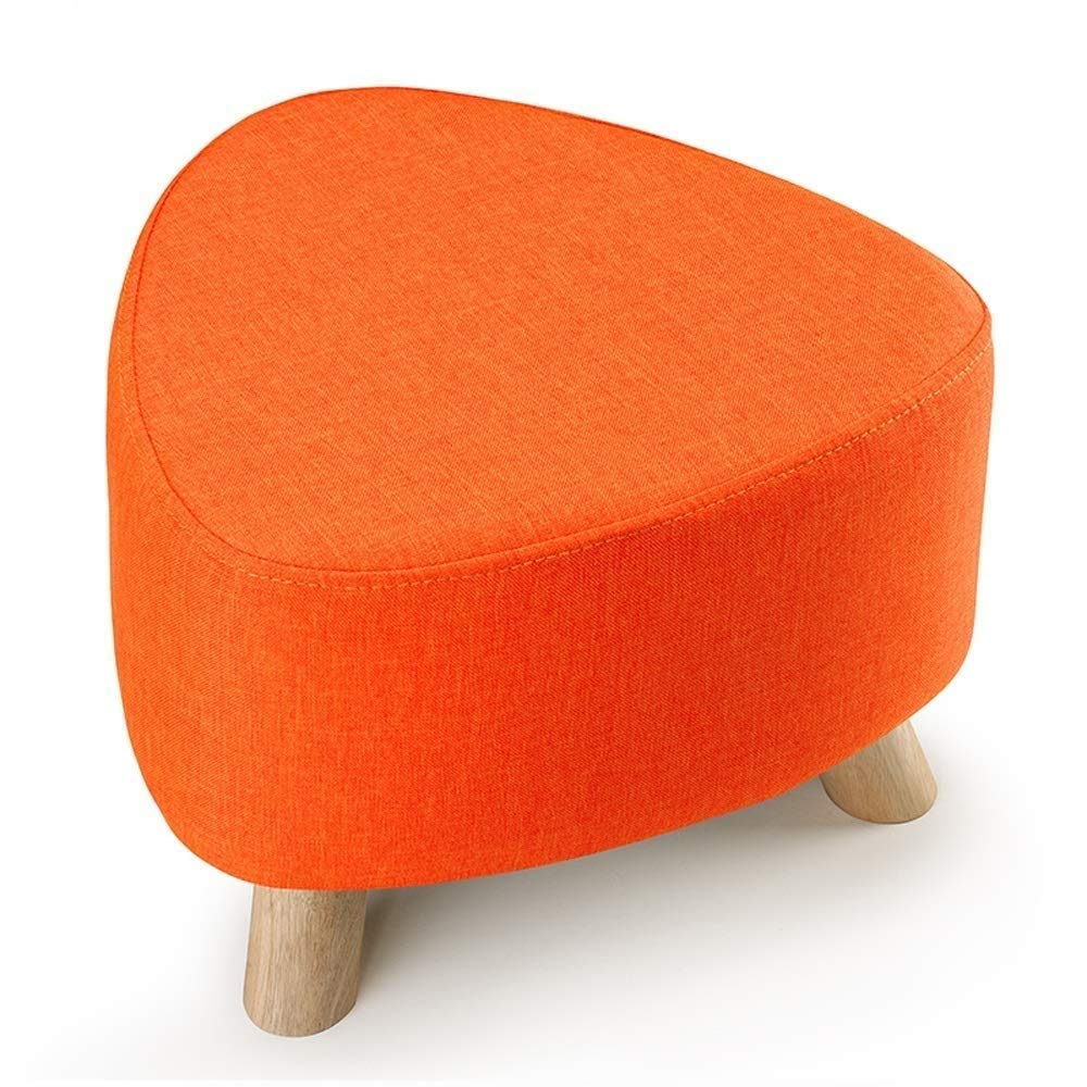 Couleur : Orange, Taille : Triangle Tabouret Trois Pieds Tabouret Chaussures D/étachables Et Lavables Tabouret Tissu Canap/é Banquette Multi Fonction P/édale en Bois Massif LEBAO