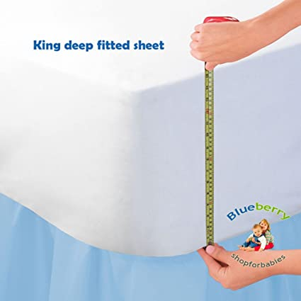 Beau BlueberryShop LUXURIOUS JERSEY COTTON 16u0026quot; EXTRA DEEP Fitted Bed Sheet  Double King Super King (