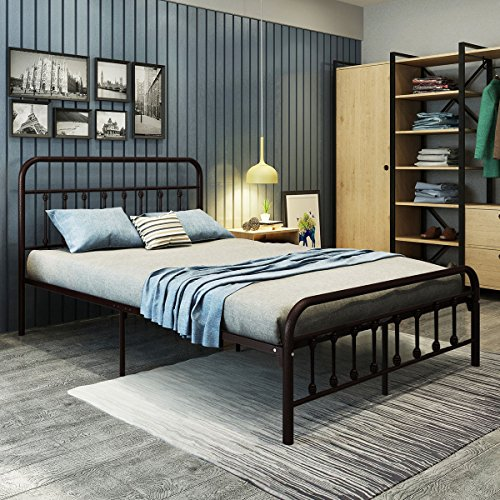 - DUMEE Bed Full Size Platform with Vintage Headboard and Footboard Sturdy Metal Frame Premium Steel Slat Support Bronze, Brzone
