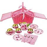 Bigjigs Toys Pink Basket Tea Set (19 Pieces)
