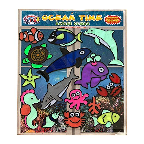 Ocean Time Flexible Window and Wall Gel Clings - CPSC Certified Safe Window Clings for Kids and Toddlers - Whale, Turtle, Crab, Octopus and More Gel Decals and Underwater Sea Life Decoration -