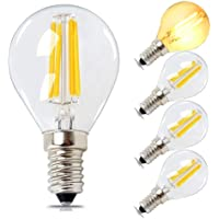 E14 LED Vintage Golfball Bulb Dimmable 4W,40W Equivalent,Soft Warm White 2700K 400lm,SES Filament Mini Globe Marqueen Bulb,G45 Chandelier Light Bulbs,Bedroom Bulbs by BRIMAX,4 Pack