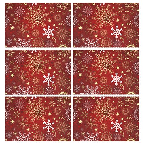 Naanle Christmas Holiday Placemats Set of 6, Christmas Red Gold Snowflake Non Slip Heat-Resistant Washable Table Place Mats for Kitchen Dining Table Home Decoration, 12