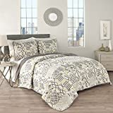 Traditions by Waverly 15304BEDDKNGSLG Set in Spring 104-Inch by 90-Inch 3-Piece King Quilt Collection, Sterling