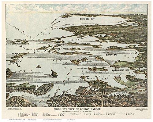 Boston - 1920 Boston Harbor Bird's Eye View - Union News (View Union)