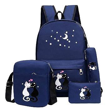 Westtreg Fashion 4 Set mochila unisex coreana mochila bolso de la muchacha Cute Cat mochila impresa para mochilas de viaje adolescente seis color, ...