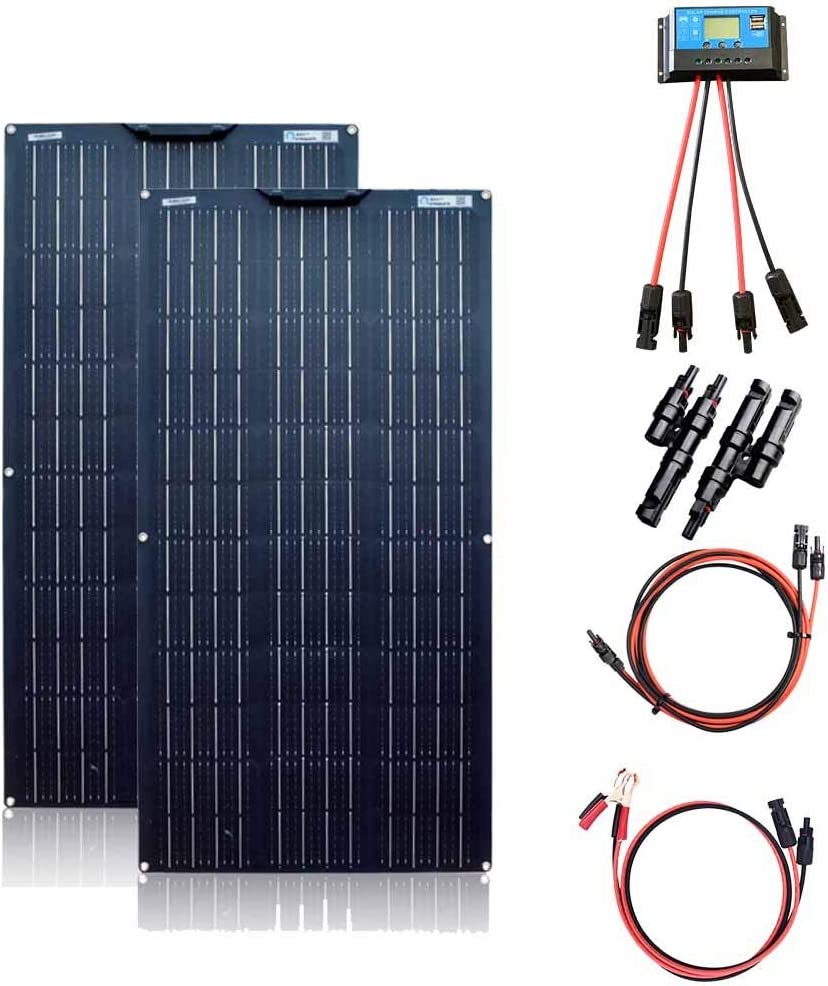 XINPUGUANG - Kit de Panel Solar de 200 W (2 Unidades, 100 W, 18 V, módulo Solar monocristalino Flexible para Autocaravana, Barco, Tienda, Coche, Remolque, 12 V, Carga de batería)
