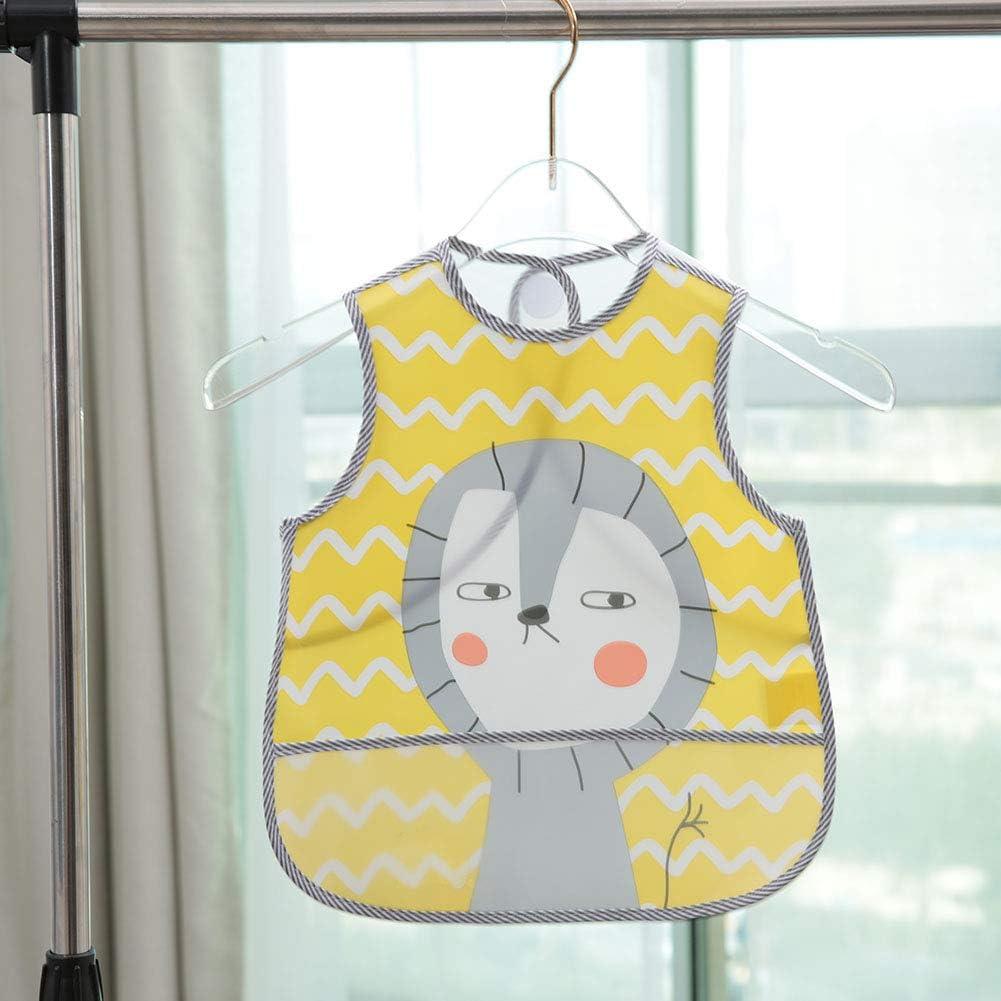 1# Cartoon Waterproof Sleeveless Baby Feeding Vest Bib Overclothes with Large Pocket Baby Bib