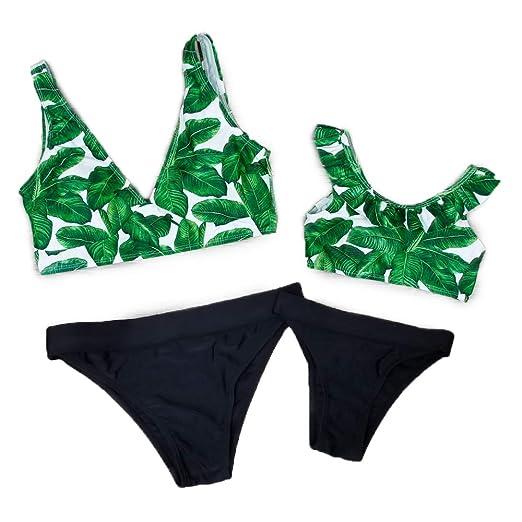 417f3ffb8c87d Amazon.com  PatPat Mommy and Me Tropical Printed Bikini Set Two Piece  Ruffle Swimsuit Beachwear  Clothing