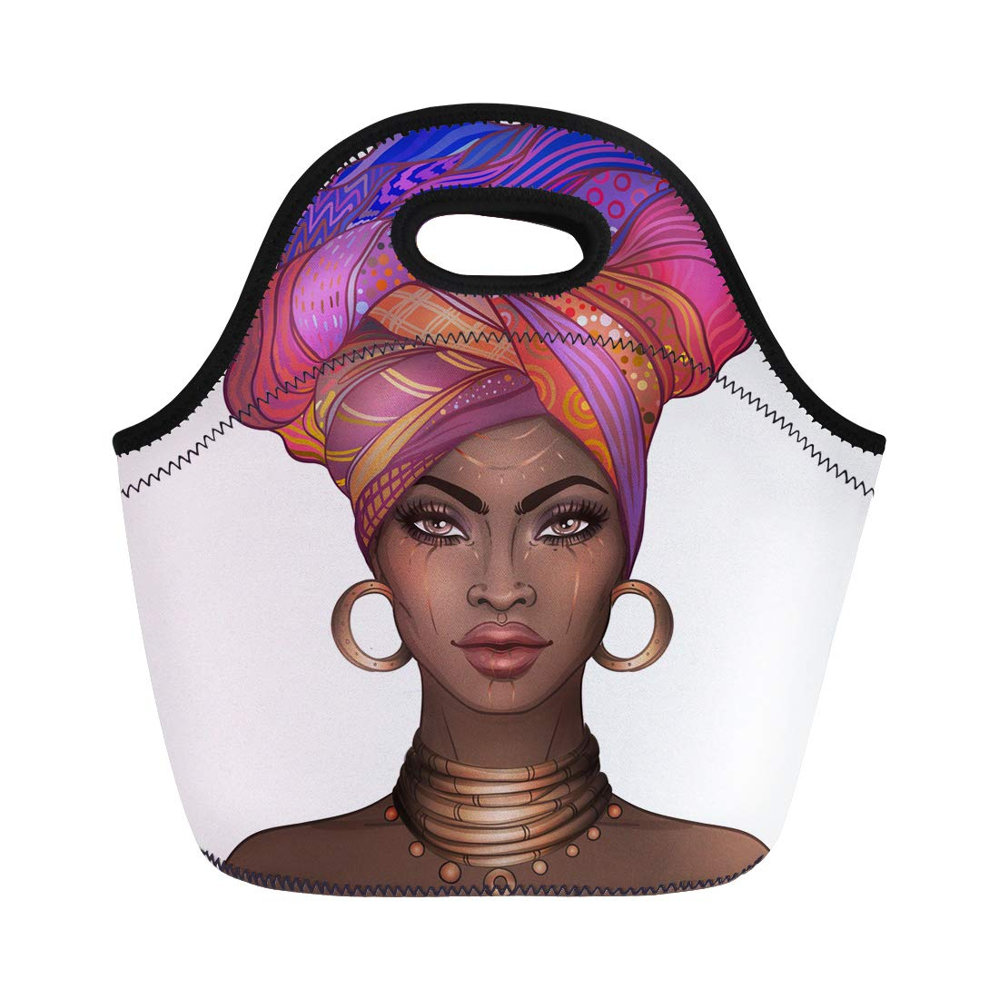 Semtomn Neoprene Lunch Tote Bag African American Pretty Girl Raster of Black Woman Glossy Reusable Cooler Bags Insulated Thermal Picnic Handbag for Travel,School,Outdoors, Work