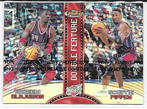 Topps Finest Insert - Hakeem Olajuwon & Scottie Pippen 1999-00 Finest Double Feature Double Refractor Insert Card #DF1