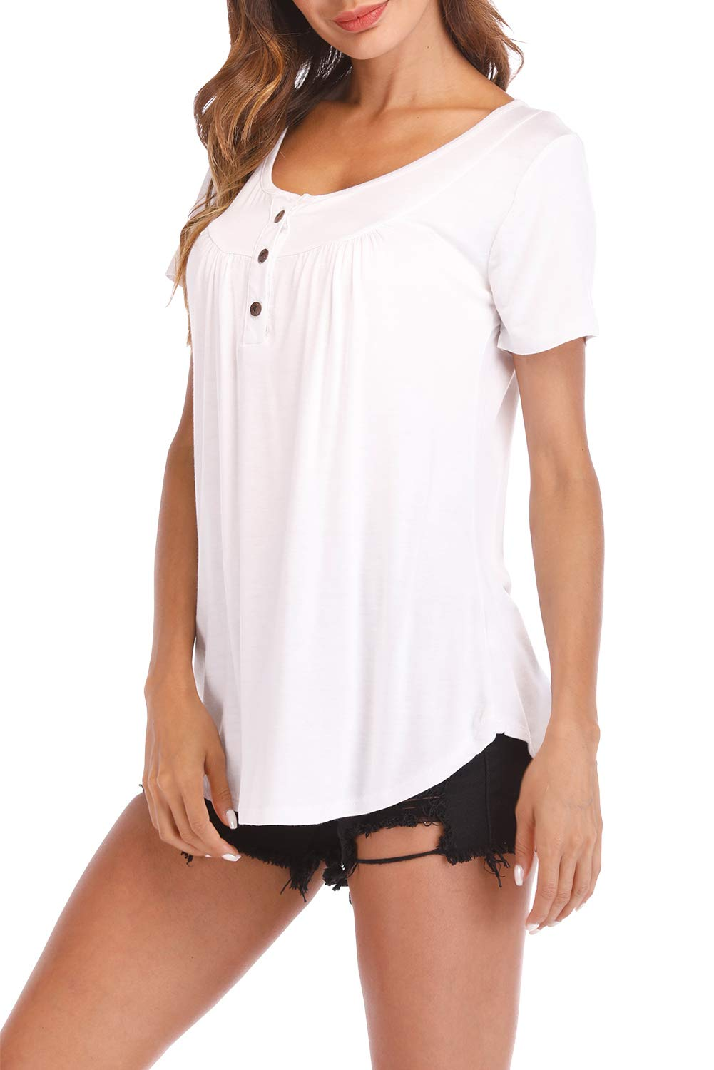 Fantastic Zone Womens Tops and Blouses Short Sleeve Tunics Plus Size Summer Shirts White XXL by Fantastic Zone (Image #4)