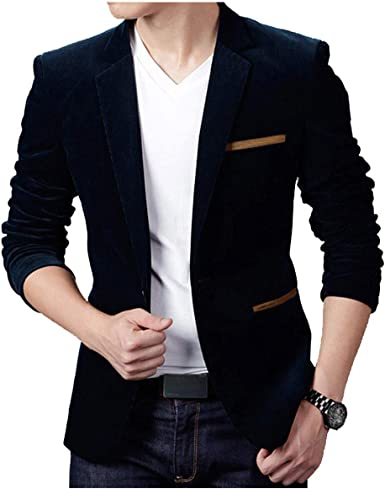 Fubotevic Men Solid Color Casual Business Two Button Slim Fit Lapel Blazer Coat Jackets
