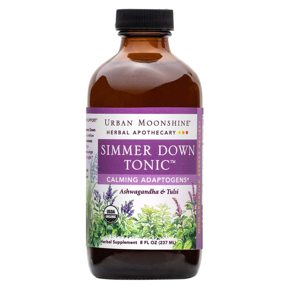 Urban Moonshine Simmer Down Tonic, Organic Herbal Supplement with Ashwagandha & Tulsi for Mellow Mood, 8 fl oz (Pack of 1)