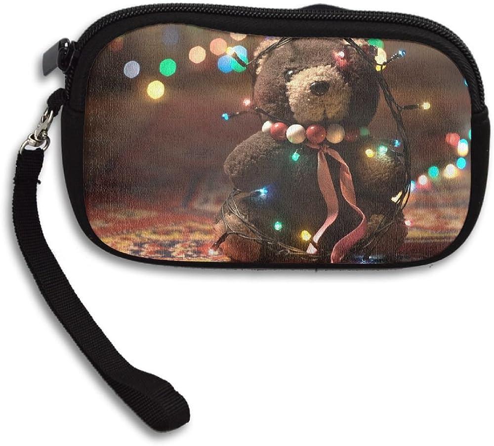 Adorable Teddy Bear Wide Deluxe Printing Small Purse Portable Receiving Bag