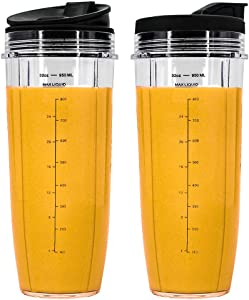 32 oz Cups, Compatible with BL480, BL490, BL640, BL680 for Nutri Ninja Auto IQ Series Blenders (Pack of 2)