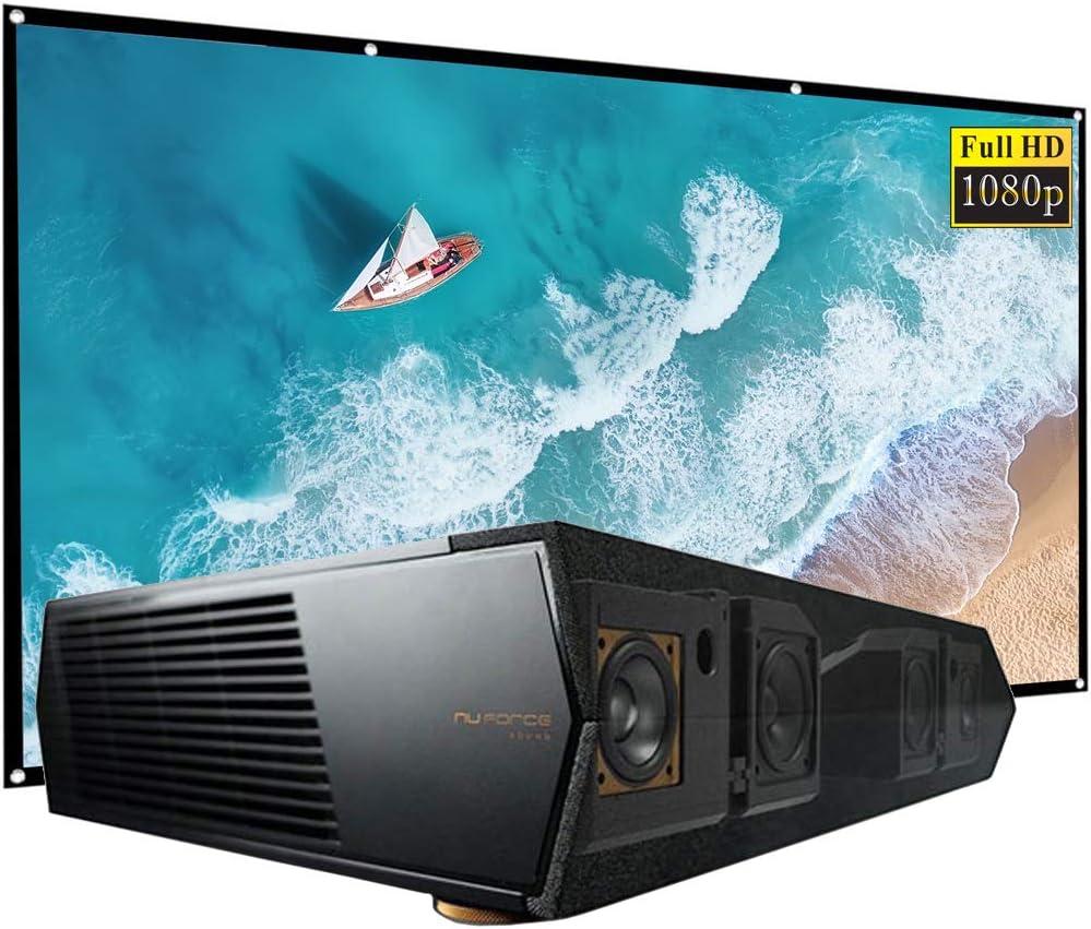 Optoma CinemaX P1 4K UHD 3000 Lumens Home Theater with Integrated Soundbar (Renewed) Bundle with 120 inch Minolta 16:9 Indoor-Outdoor Screen