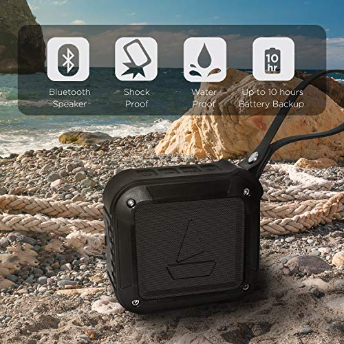 boAt Stone 200 Portable Wireless Speaker with 3W Premium Sound, Robust Bass, Rugged Mountable Design, IPX6 Water & Splash Resistance and Up to 10H Playtime (Black)