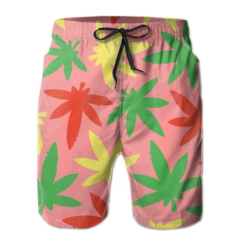Weed Leaf Cannabis Raggae Mens Basic Board Shorts L With Pocket