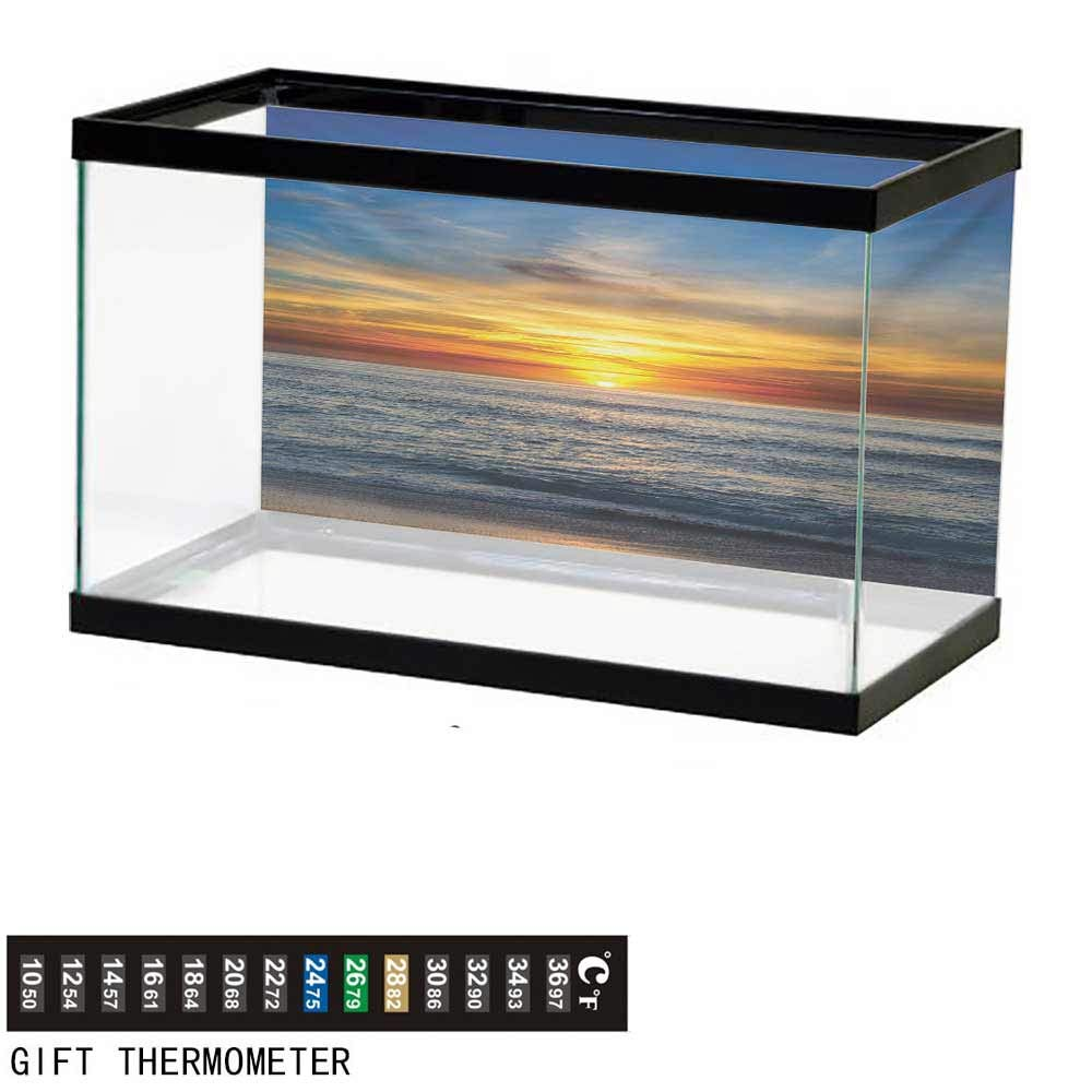 wwwhsl Aquarium Background,Ocean,Sunset Over Pacific Ocean from La Jolla California Sun Rays Colored Sky Photo Print,Orange Blue Fish Tank Backdrop 48'' L X 18'' H by wwwhsl